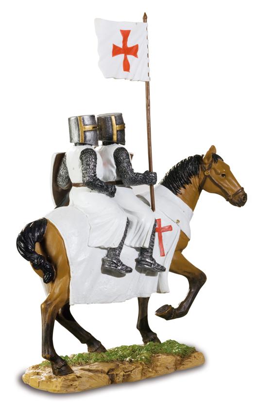 deux templiers a cheval hf1376 grossiste cadeaux d corations figurines et peluches prix. Black Bedroom Furniture Sets. Home Design Ideas